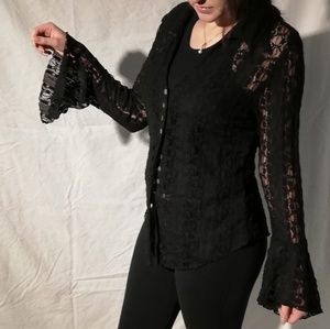 New York and Company black lace button-up blouse